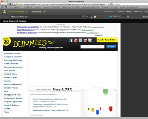 Previewing a web page on the Adobe BrowserLab