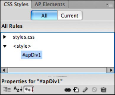 CSS Styles panel on Dreamweaver.