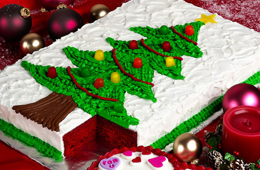 Make a Christmas tree cake for you holiday party.