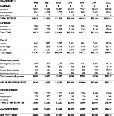 financial projections for your food truck business dummies