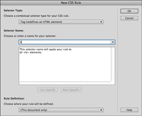 The New CSS Rule dialog box.