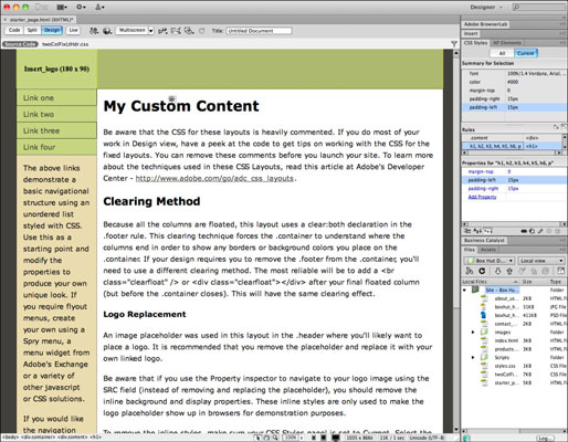 How to Create a New Document from CSS Starter Pages in
