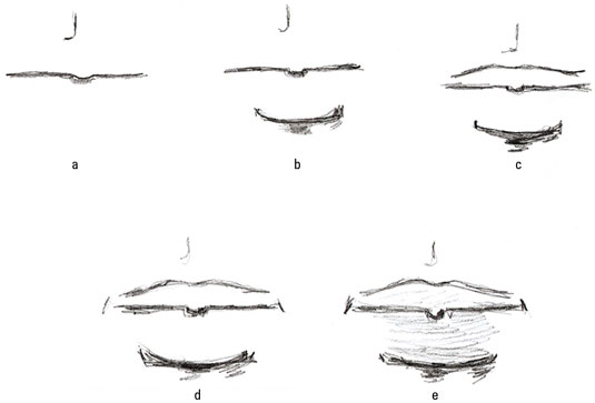 To draw a male mouth for a fashion illustration start with a simple horizontal line with a slight dip in the center