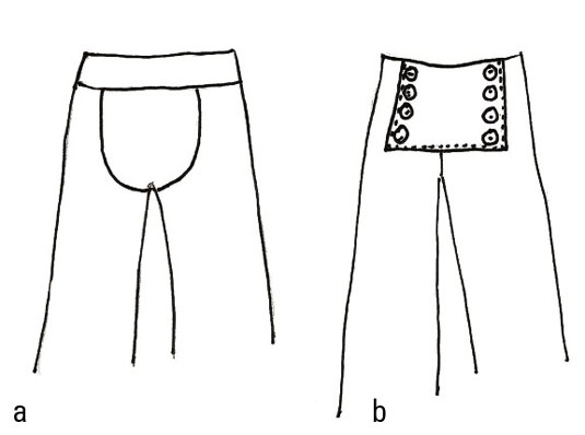 Drawing of pants without a fly: sailor pants and maternity pants.