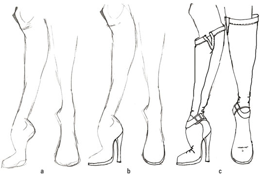 Three stages in drawing a pair of boots.