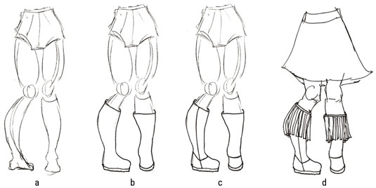 Four sketches show the process of drawing a pair of boots and a skirt.