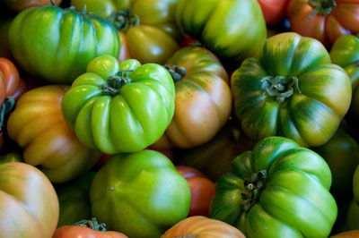 Green heirloom tomatoes look fresh enough to taste. [Credit: Focal length: 55mm, Shutter speed: 1/1