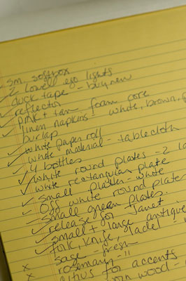 Example checklist for a food styling photo shoot.