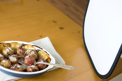 Use a reflector on a food setting to add extra light.