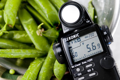 A hand-held light meter measures light reflecting off and falling on a subject.