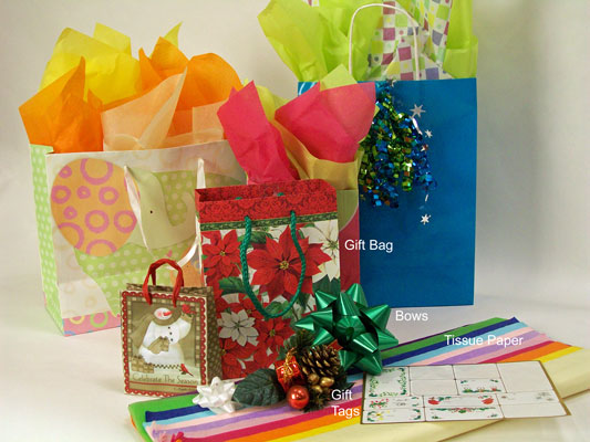 How to wrap presents in a gift bag dummies all of the elements needed to wrap a present in a gift bag negle Images