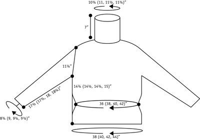 Stripe yoke turtleneck schematic.