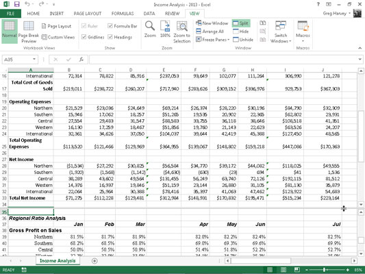 How to Split the Worksheet into Windows in Excel 2013 - dummies