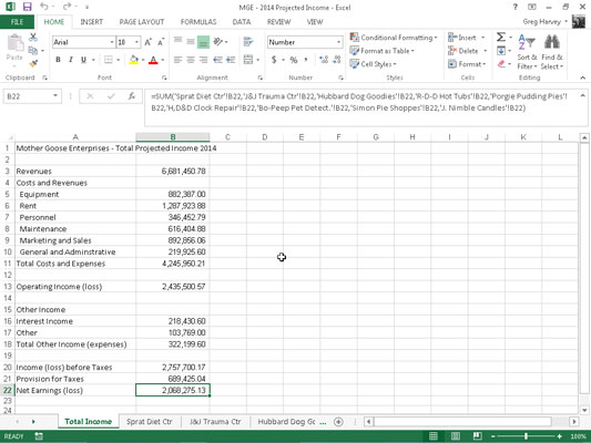 How to Create a Summary Worksheet in Excel 2013 - dummies