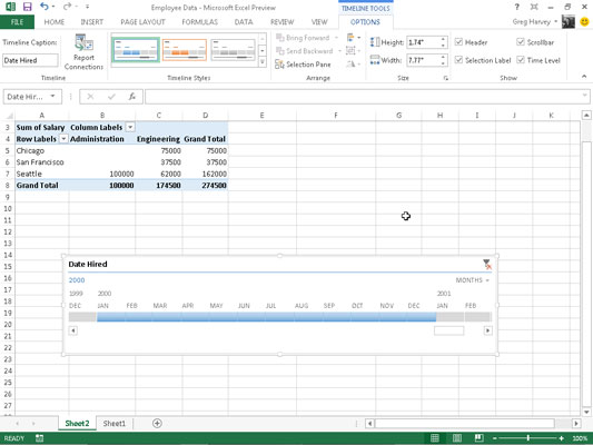 how to filter pivot tables with timelines in excel 2013 dummies