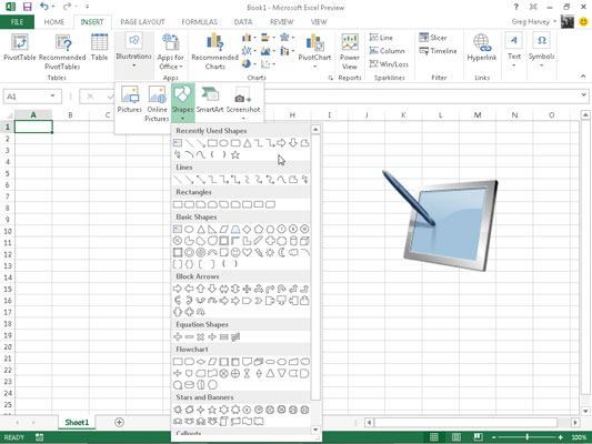 How To Add Preset Graphic Shapes In Excel 2013 Dummies. When You Open The Shapes Gallery By Clicking Button In Illustrations Group On Insert Tab Of Ribbon See That It's Divided Into. Worksheet. Getting Into Shapes Worksheet At Mspartners.co