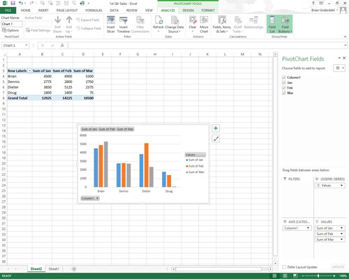 How to Move Pivot Charts to Separate Sheets in Excel 2013