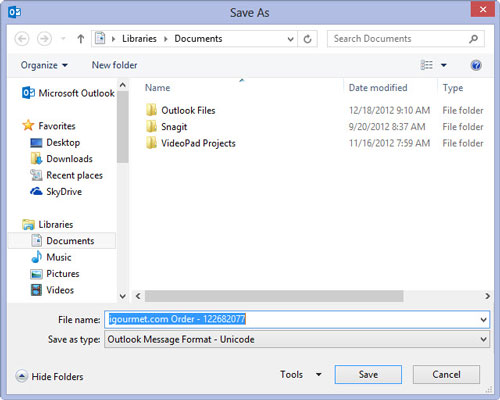 You can save outlook messages on your computer using the Save As dialog box.