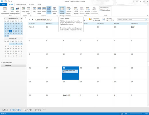 The Open Calendar button at the top of the window lets you view additional calendars.