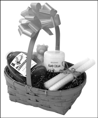 This gift basket of honeybee products could go to each of your immediate neighbors. That's su