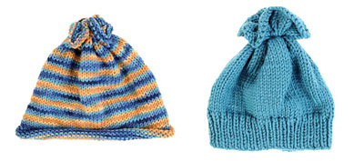Child's hat A on the left and child's hat B on the right