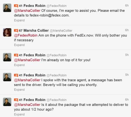 Twitter responses from @FedExRobin.