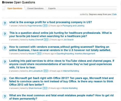 Open questions in LinkedIn Answers.