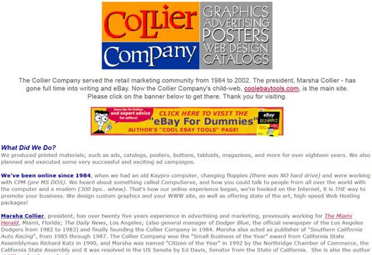 An early business website, circa 1996.