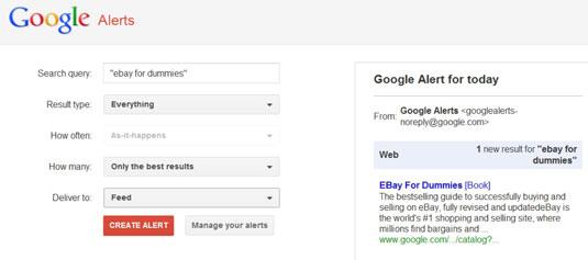 Setting up a Google alert.
