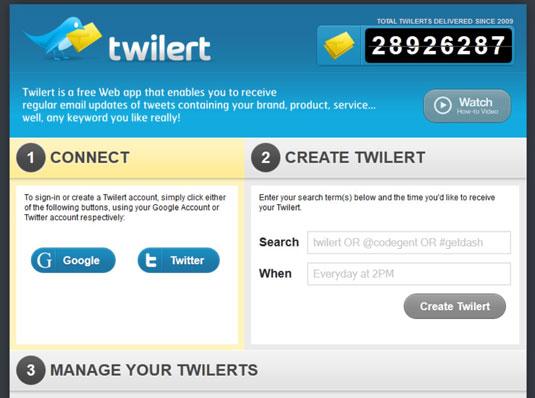 The Twilert home screen.