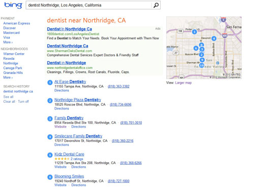 A Bing search for a dentist in Northridge, CA.
