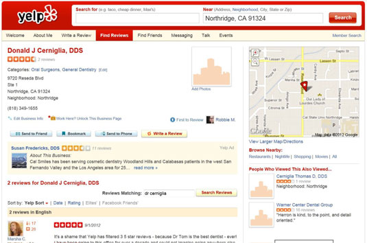 Yelp puts the business contact info front and center on a page.