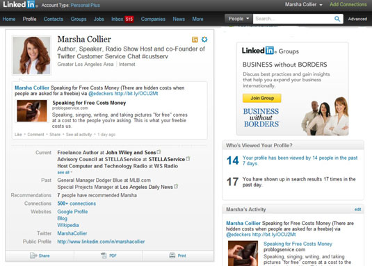 The top of an author's LinkedIn page is a calling card for those in her industry.