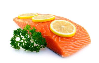A piece of seasoned salmon