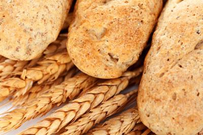 Three loaves of whole grain bread.