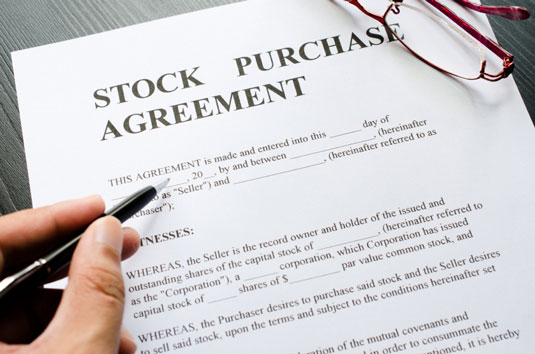 A blank stock purchase agreement.
