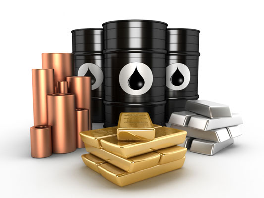 Illustration of commodities: oil, silver, and gold.