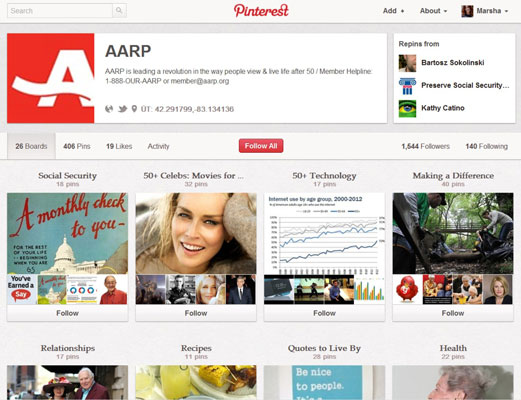 Even the AARP has a Pinterest page.