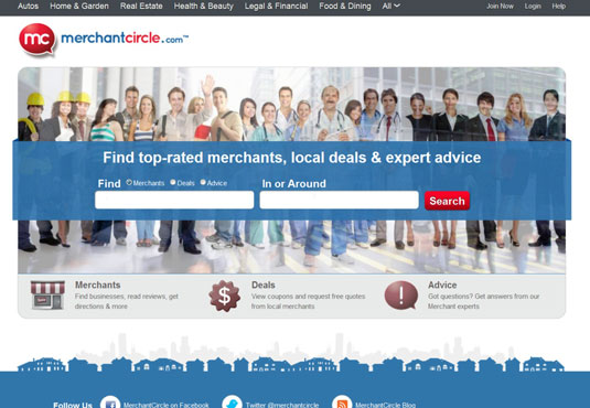 The MerchantCircle home page.