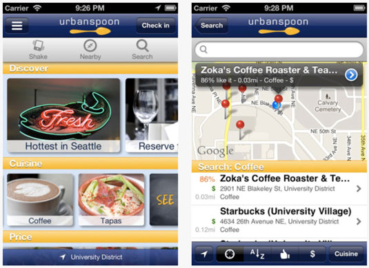 The iPhone version of the Urbanspoon app.