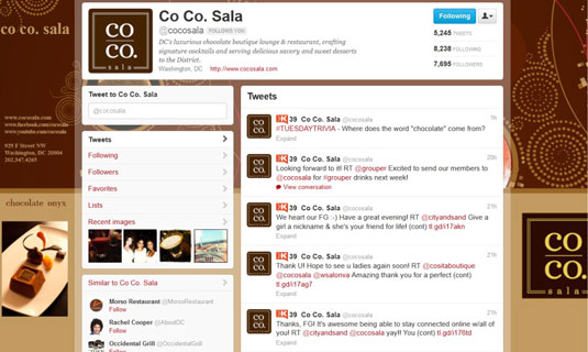 Co Co. Sala's Twitter page shows warm content with followers and customers.