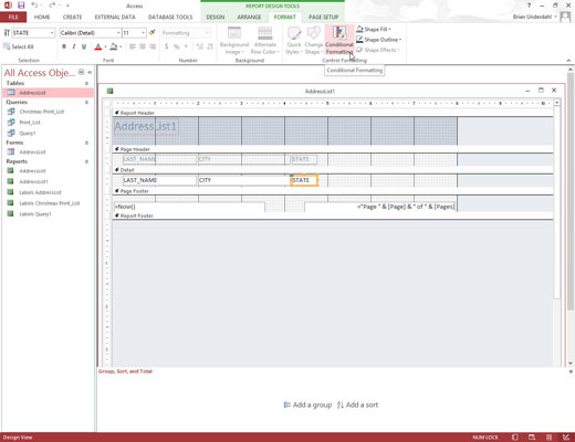 An open table in Microsoft Access 2013.