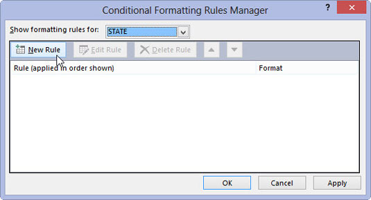 The Conditional Formatting Rules Manager dialog box in Microsoft Access 2013.