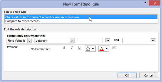 New Formatting Rule window in Access 2013, where you can create new rules for your chart.
