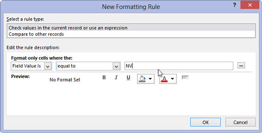 You can edit the rule description in Access 2013's New Formatting Rule dialog box.