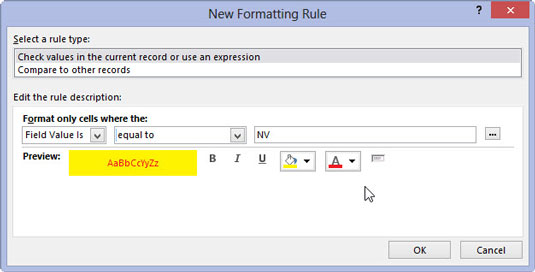 You can preview the rule you created in the New Formatting Rule window in Access 2013.