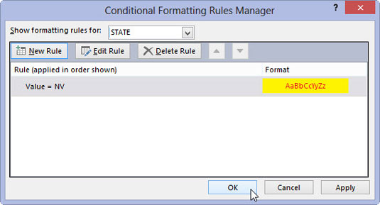 The Conditional Formatting Rules Manager window with all your new rules.