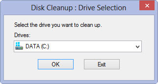 The Disk Cleanup box in Windows.
