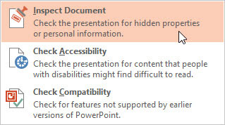 PowerPoint feature that inspects your document for personal information.