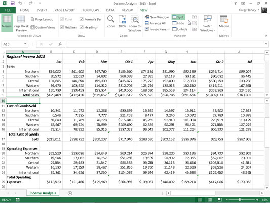 How to Split an Excel 2013 Worksheet into Panes - dummies
